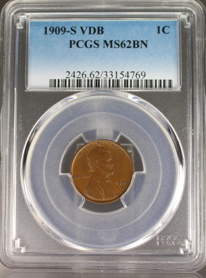 1909-s VDB Lincoln Cent PCG  Graded MS62BN