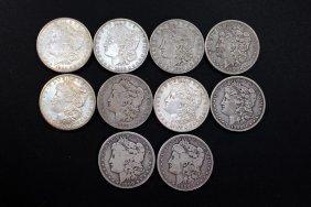 Ten Mixed Morgan Dollars