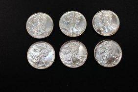 Six American Eagle Silver Dollar