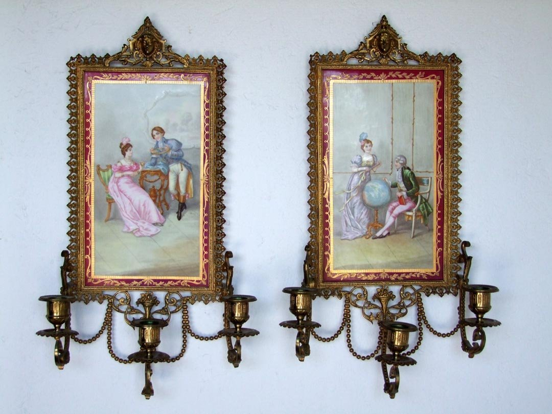 French Wall Sconces With Porcelain Backs