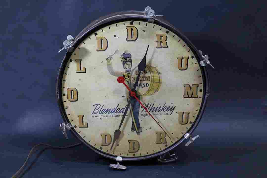 """Old Drum"" Blended Whiskey Clock"
