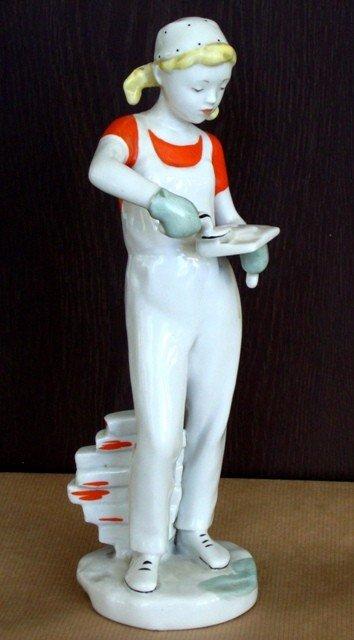 4: A Soviet Porcelain Figure of a Plasterer Girl