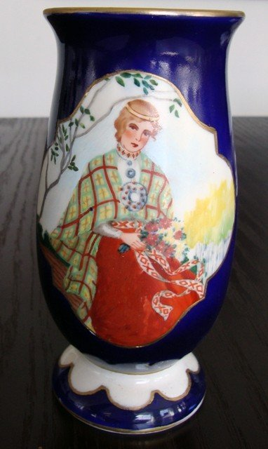 13: A Porcelain Vase. Girl in the birch grove