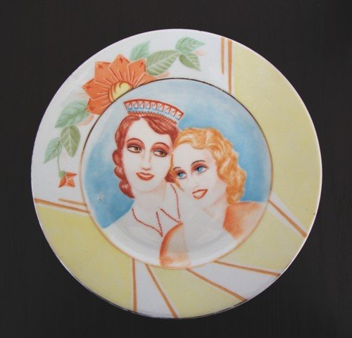 14: A Porcelain Plate, signed Z.I. Girlfriends