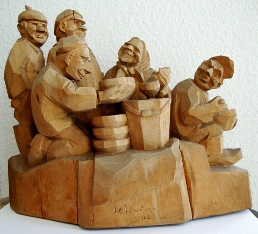 "16:A Carved Wooden Figure "" Lunch "" 1962"