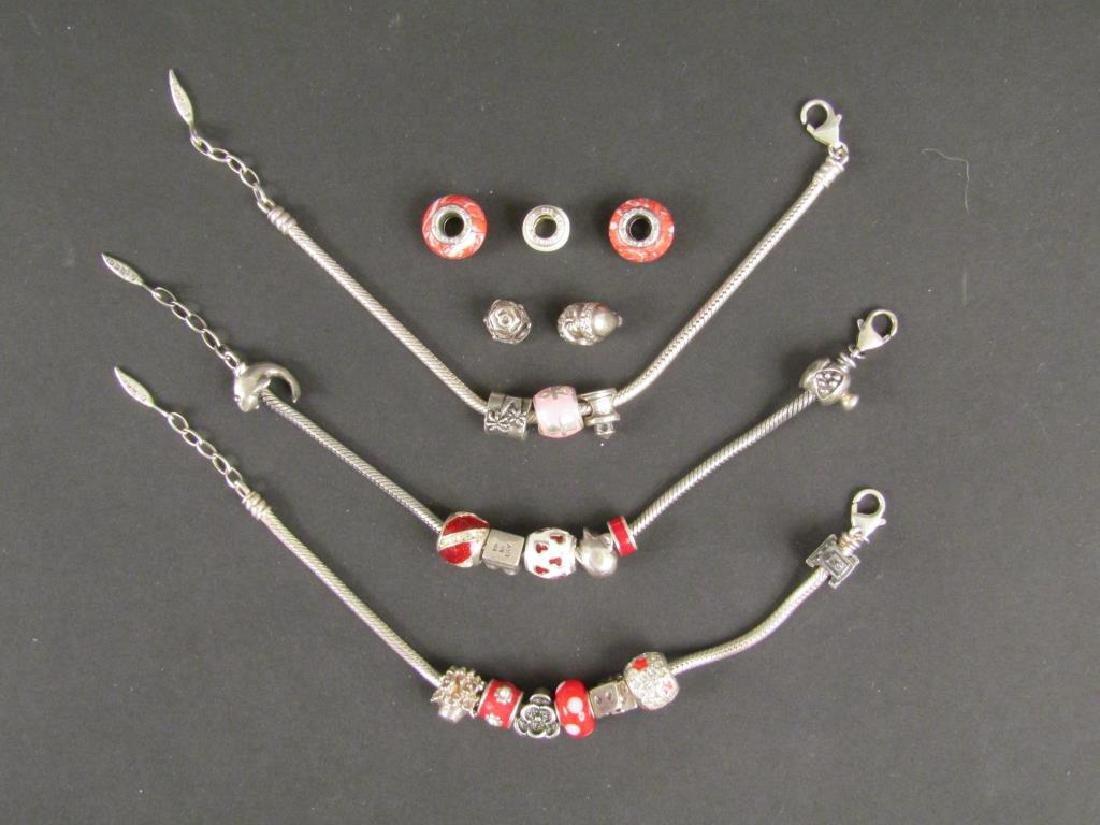3 Sterling Silver Amore & Baci Charm Bracelets