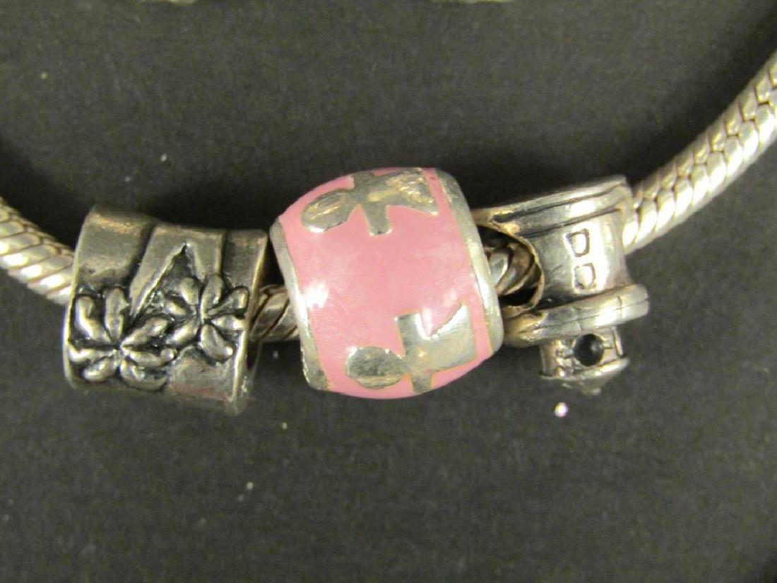 3 Sterling Silver Amore & Baci Charm Bracelets - 2