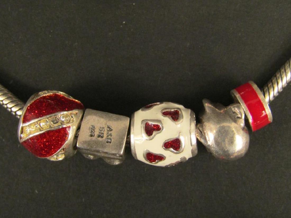 3 Sterling Silver Amore & Baci Charm Bracelets - 3