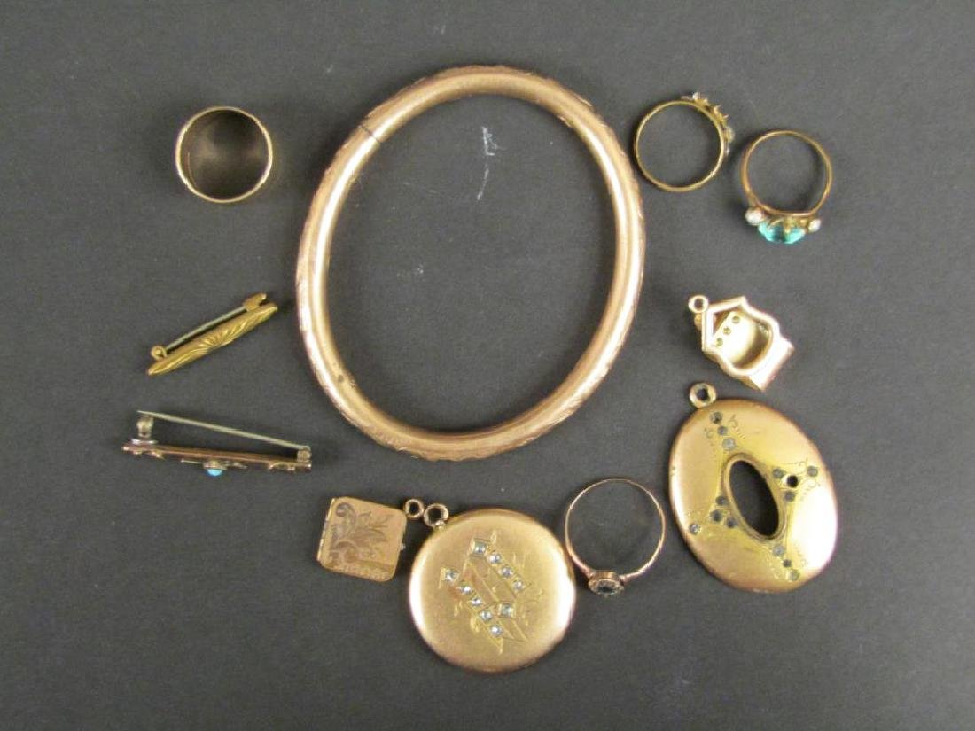 Antique Gold Tone and Other Metal Jewelry