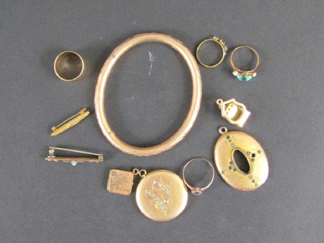 Antique Gold Tone and Other Metal Jewelry - 2