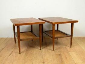 Pair Modern Two Tier End Tables