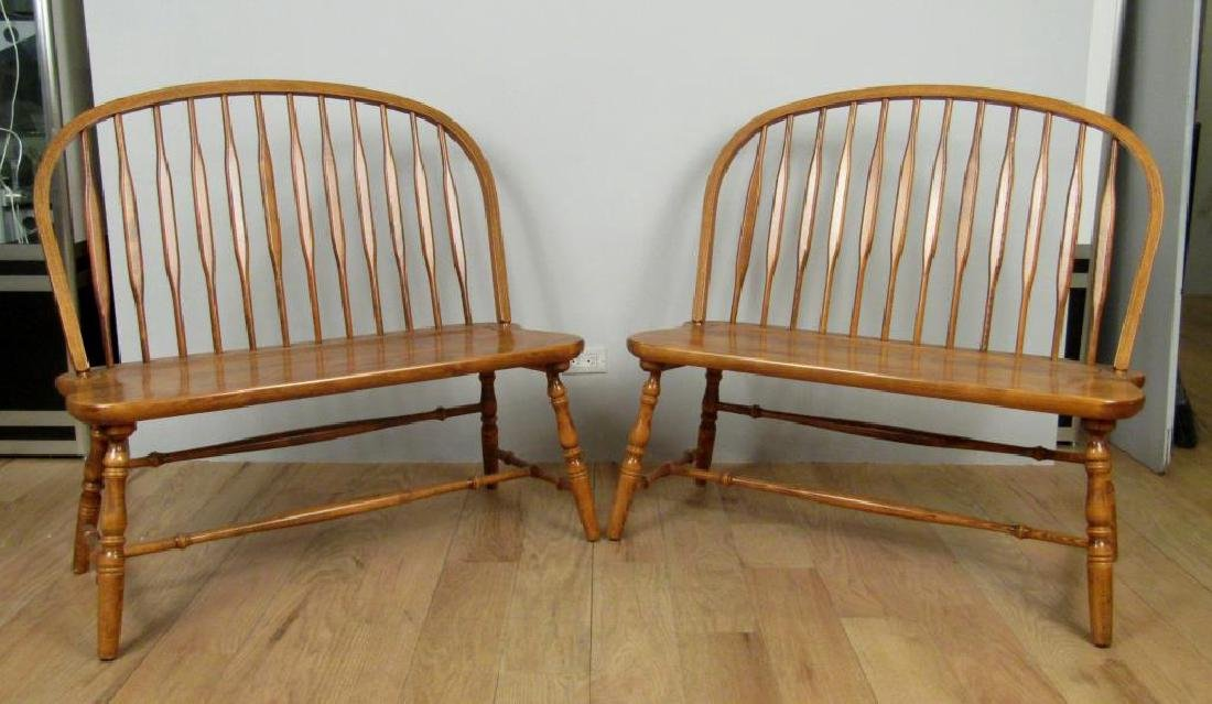 Pair Windsor Style Benches
