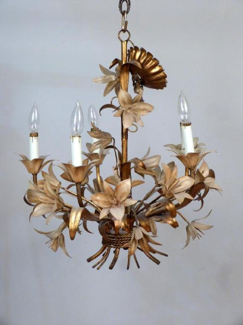 Hollywood Regency Gilt Tole Chandelier