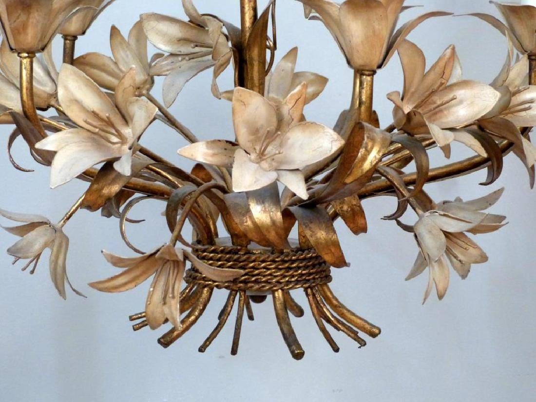 Hollywood Regency Gilt Tole Chandelier - 6