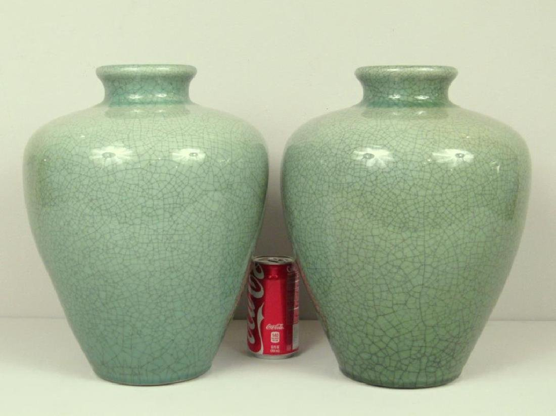 Pair Chinese Celadon Porcelain Vases - 2