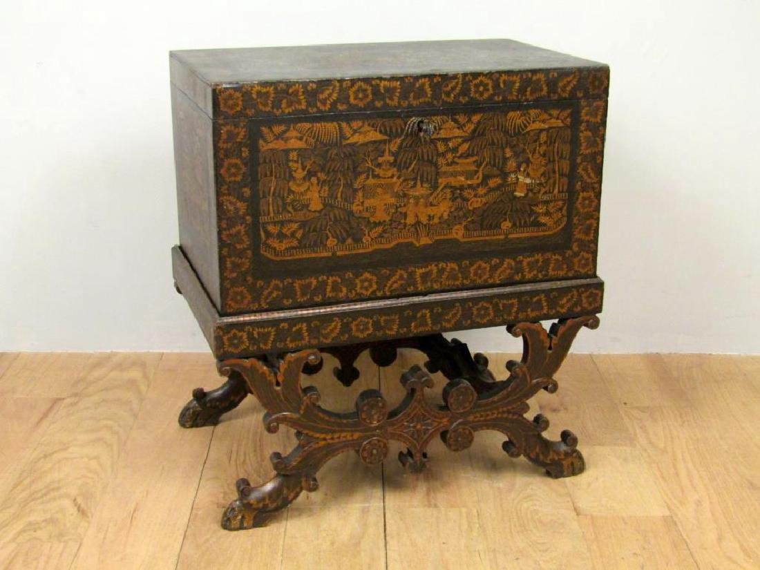 Anglo Indian Painted Chest on Stand