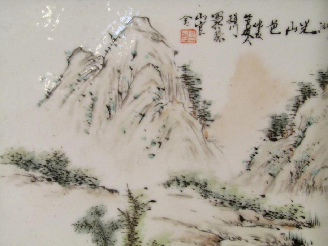 Chinese Framed Porcelain Plaque - 3