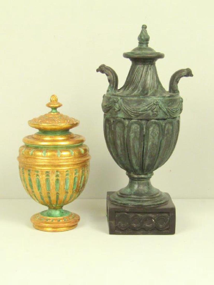 2 Faux Covered Urns