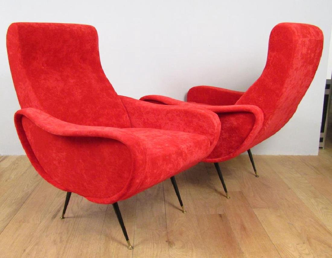 Pair Mid Century Style Arm Chairs - 2