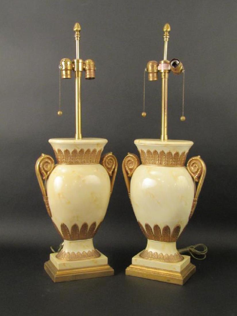 Pair Decorated Metal Urn Form Lamps
