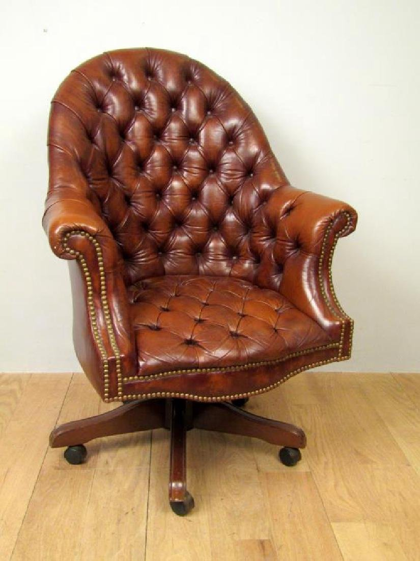 Tufted Leather Library Chair