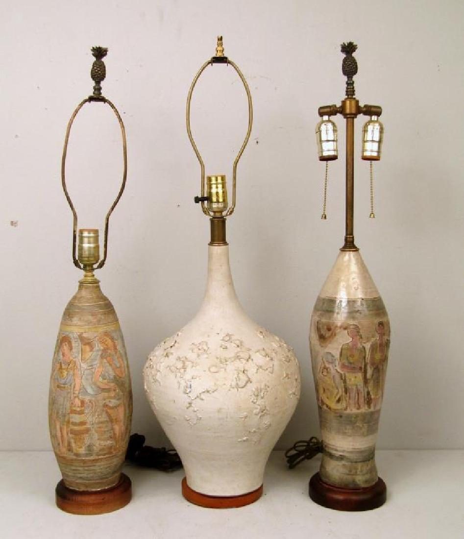 3 Mid Century Ceramic Lamps