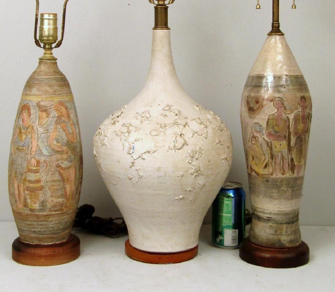 3 Mid Century Ceramic Lamps - 2