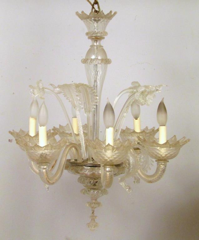 Italian 6 Light Venetian Style Glass Chandelier