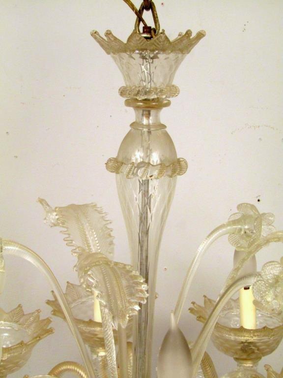Italian 6 Light Venetian Style Glass Chandelier - 2