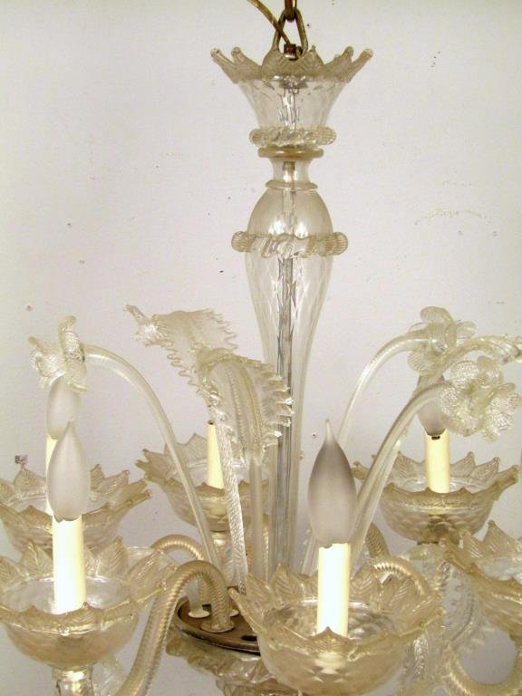 Italian 6 Light Venetian Style Glass Chandelier - 3