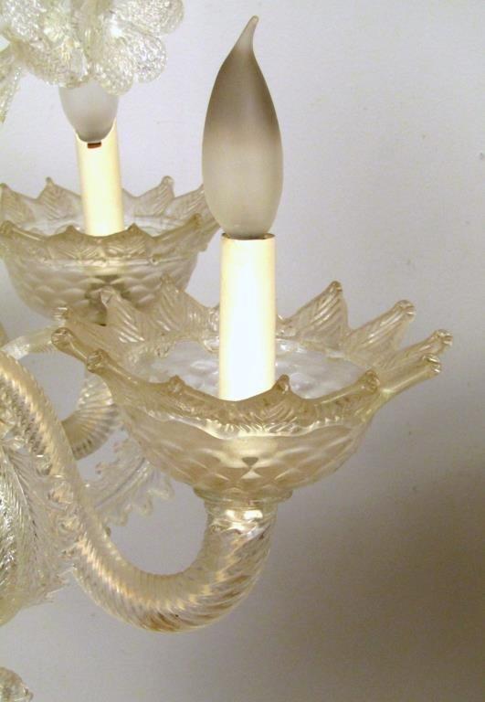 Italian 6 Light Venetian Style Glass Chandelier - 4