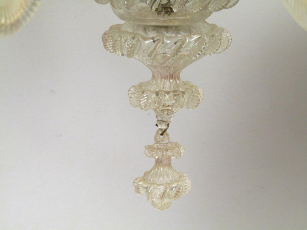 Italian 6 Light Venetian Style Glass Chandelier - 5
