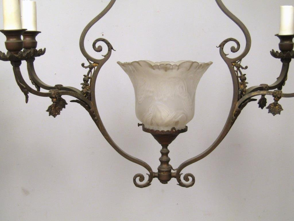 English Style 5 Light Mixed Metal Chandelier - 4
