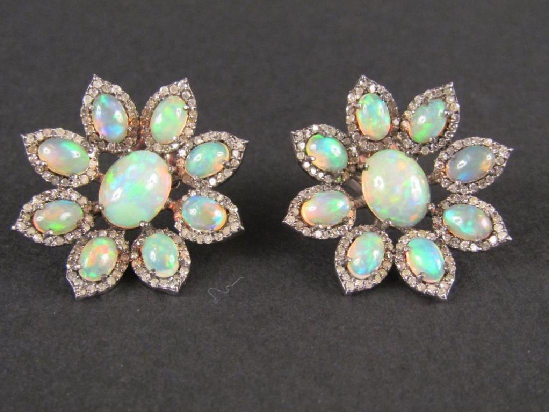 Pair Opal and Diamond Earrings