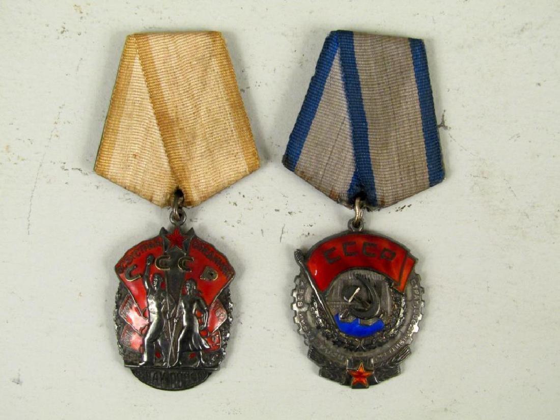 2 Soviet CCCP Labor Medals