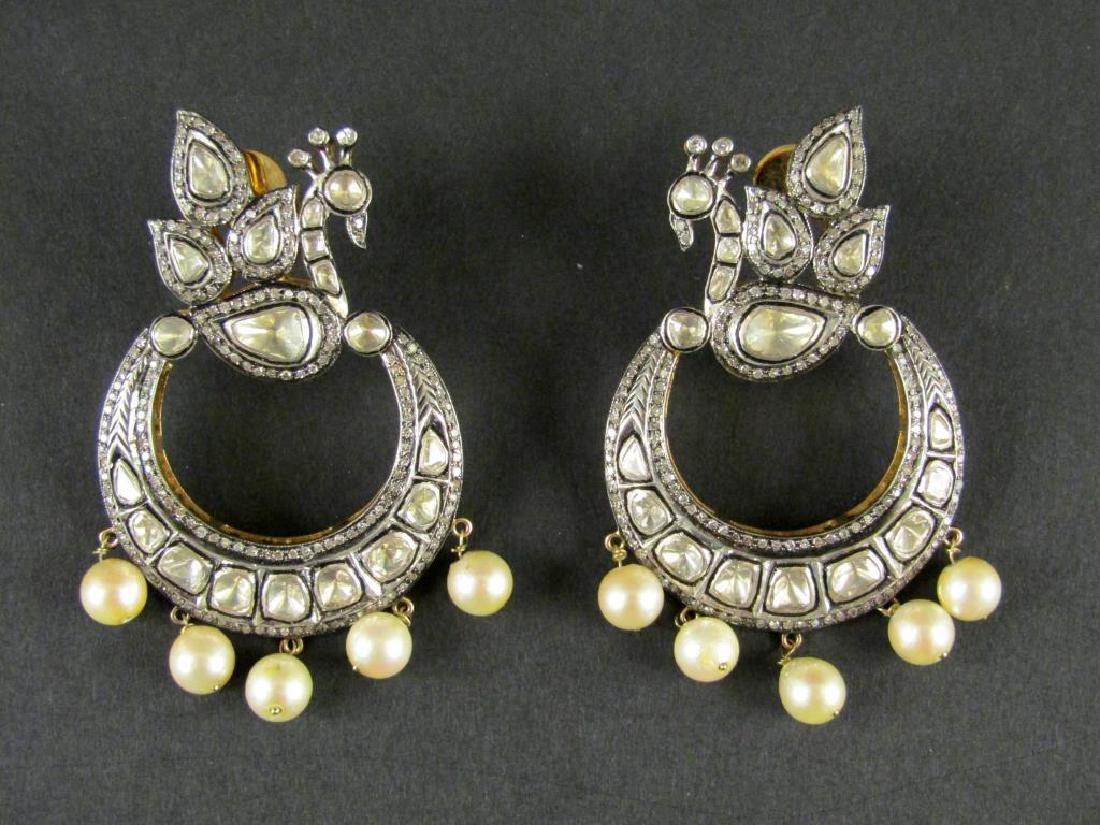 Pair Rose Cut Diamond and Pearl Earrings