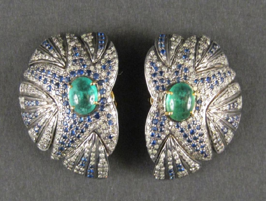 Pair Emerald Diamond and Sapphire Earrings