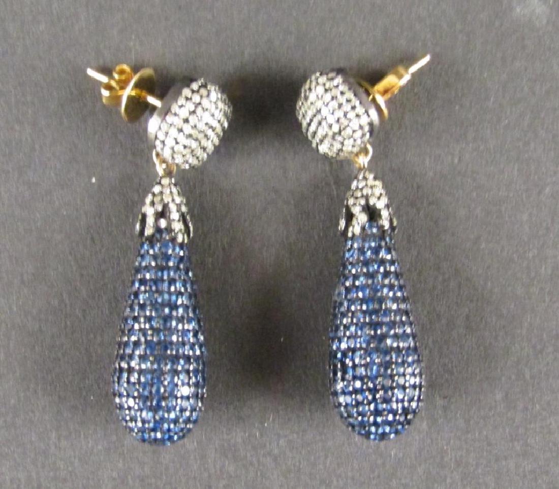 Pair Diamond and Sapphire Teardrop Earrings ***