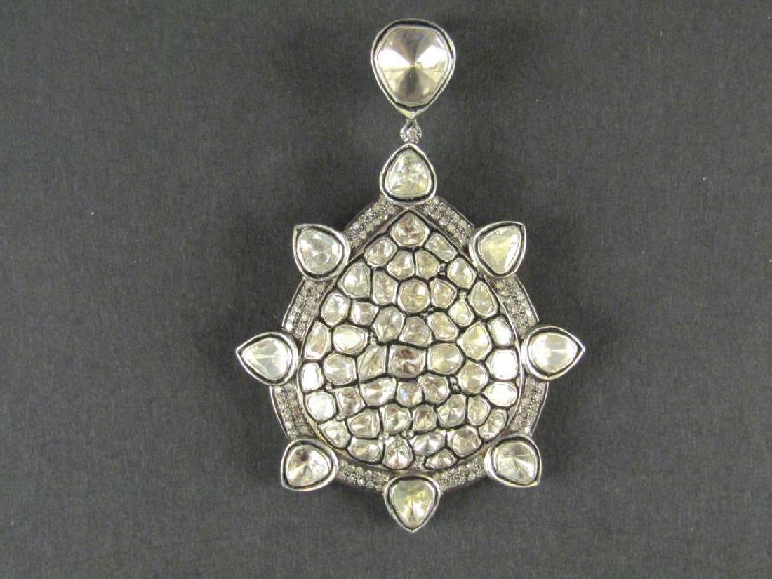 Rose Cut Diamond and Gold Large Pendant