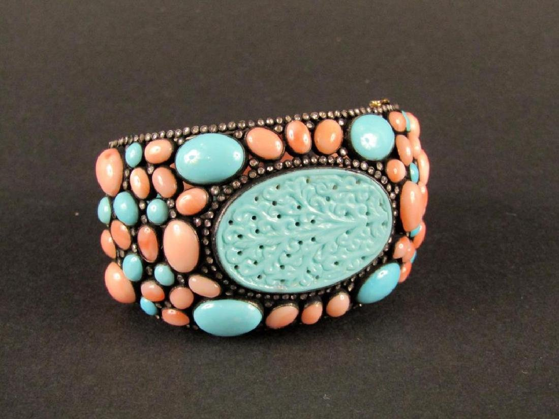 Turquoise Coral and Gold Bracelet
