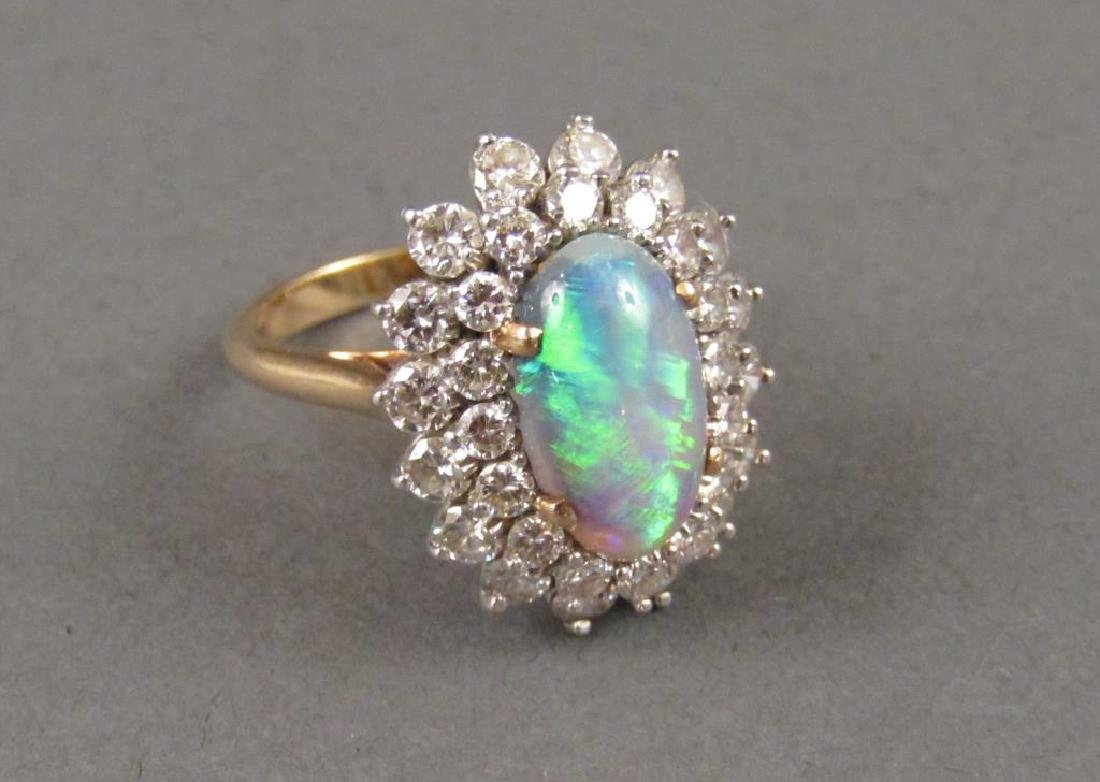 14K Gold Diamond and Opal Ring