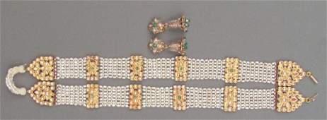 Seed Pearl Belt and Pair Earrings