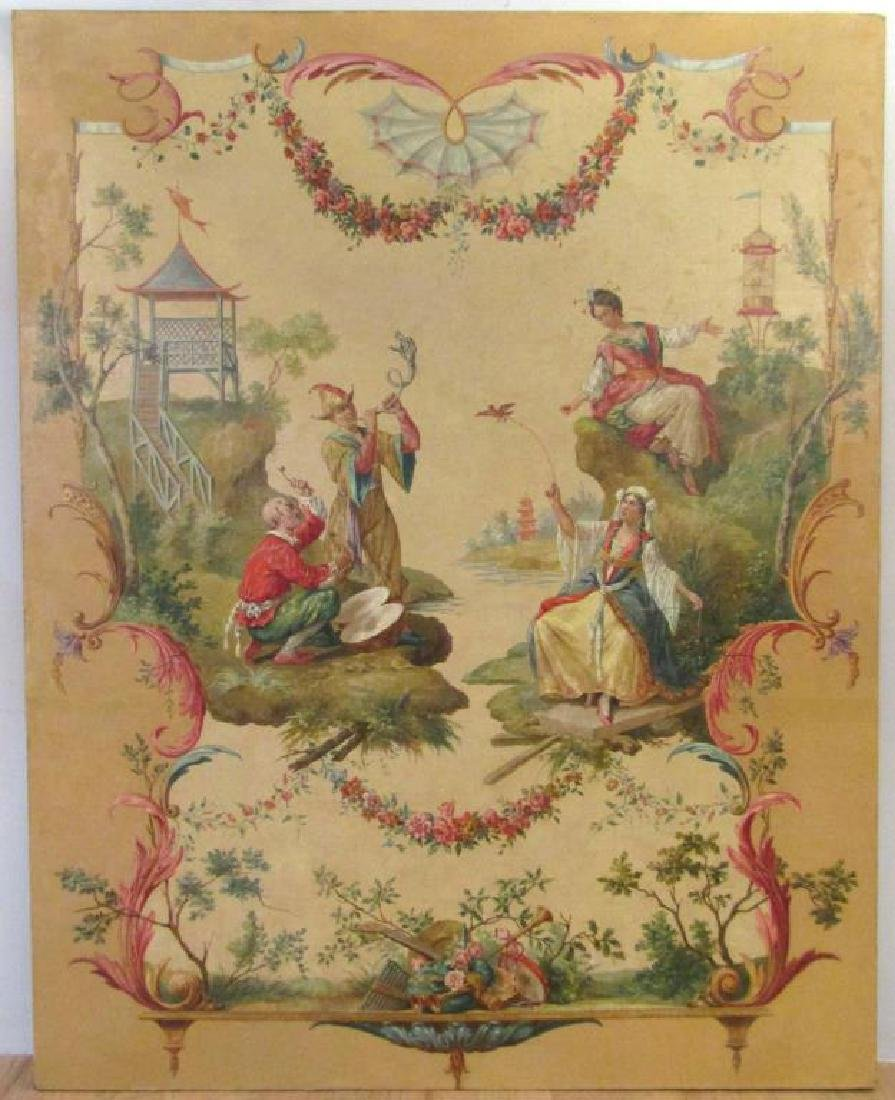 Large Antique Chinese Export Oil on Canvas