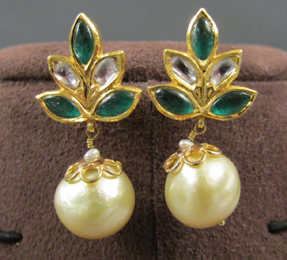 Pair 18K Gold, Emerald and Diamond Earrings