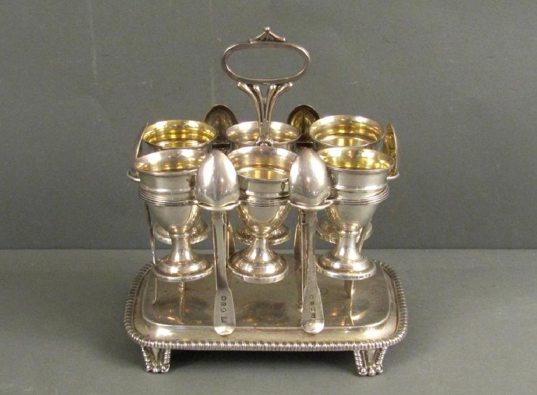 Antique English Silver Egg Serving Stand