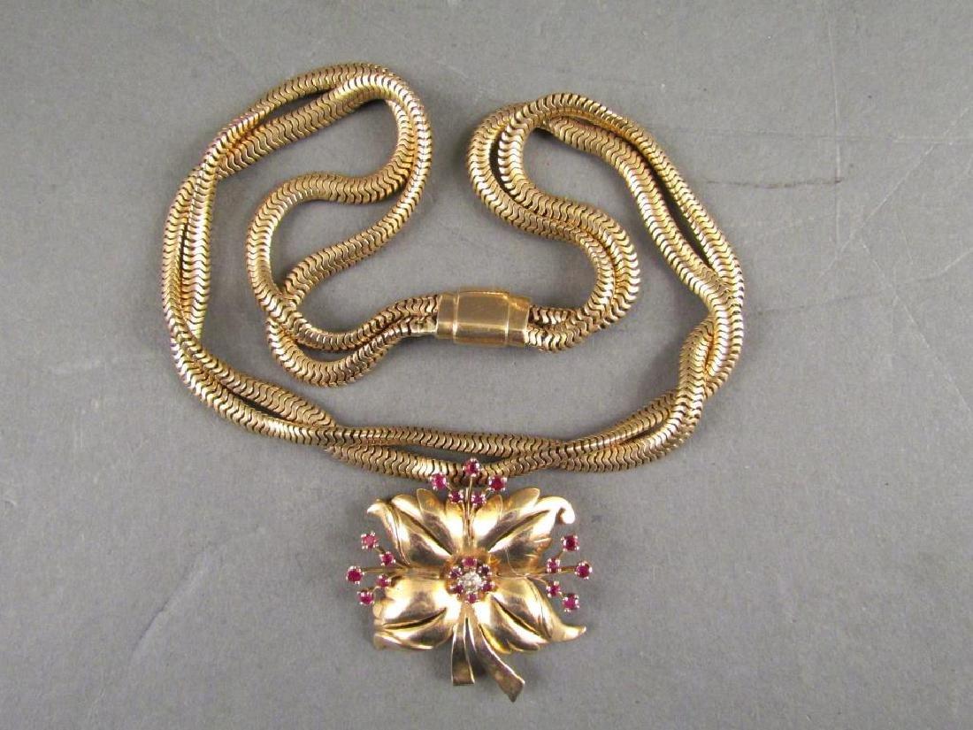 14K Gold Brooch on Chain
