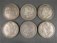 6 - US Morgan Silver Dollars - 1881 - 1884
