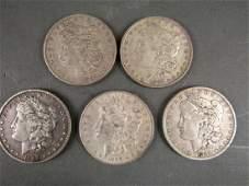 5- US Morgan Silver Dollars - 1885 - 1889