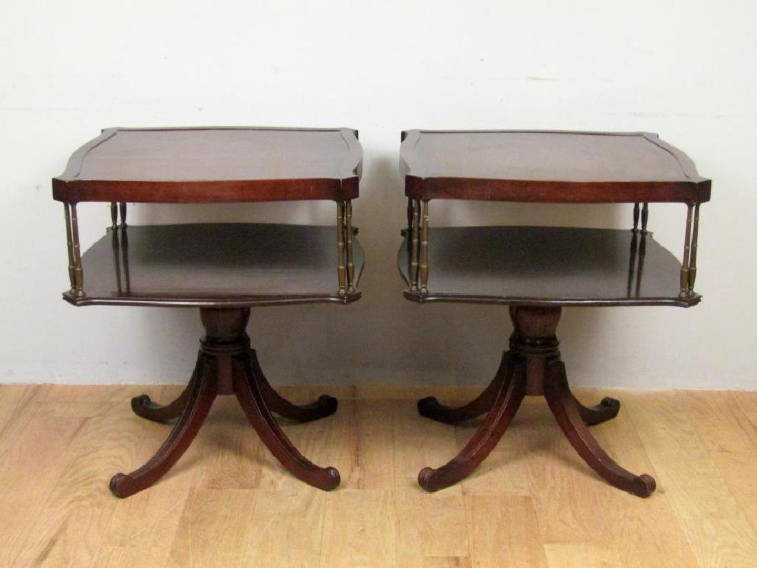 Pair Regency Style 2 Tier End Tables