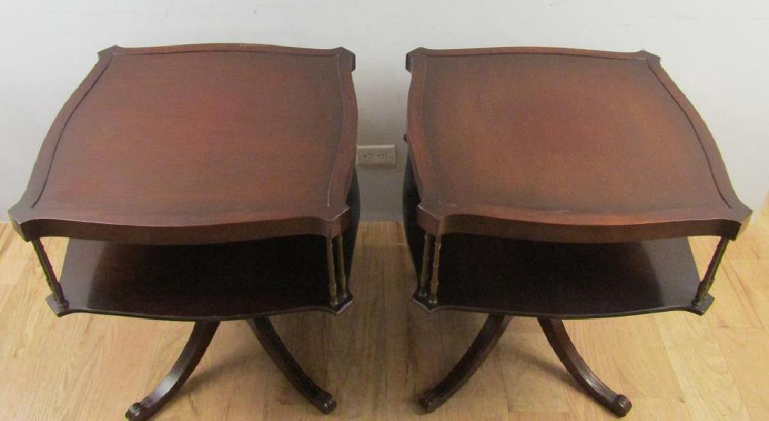 Pair Regency Style 2 Tier End Tables - 2